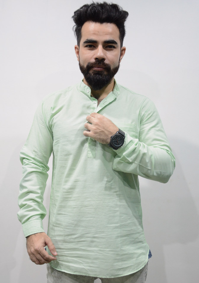 Zara Men Cotton Mint Green Kurti