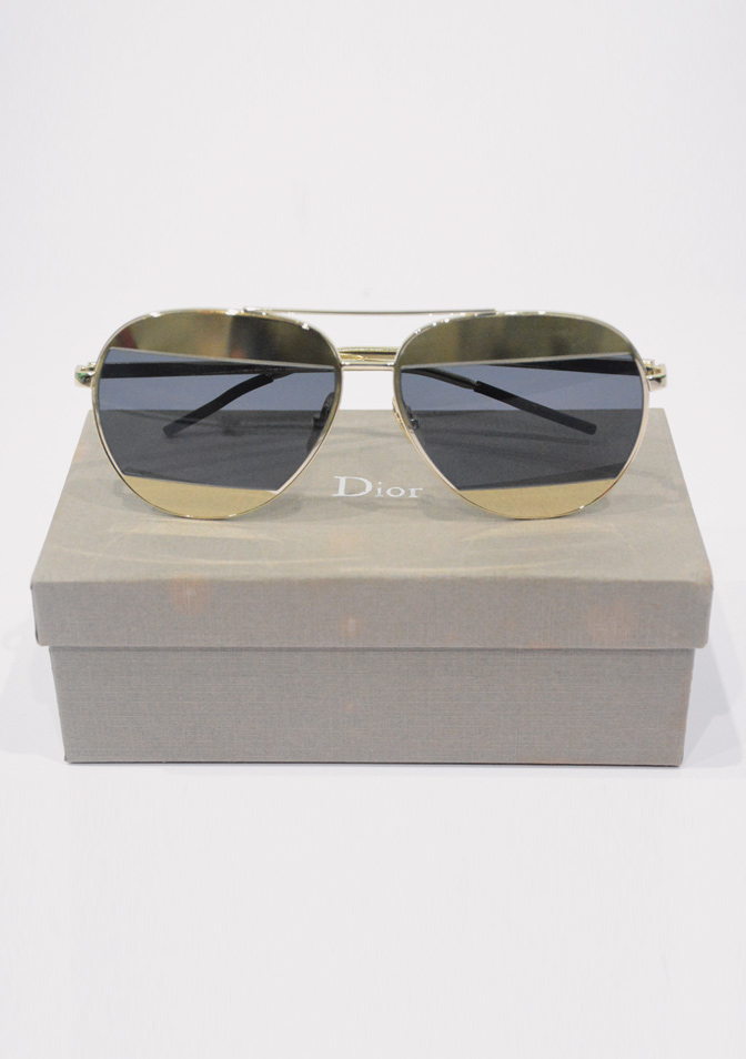 DIOR SPLIT , GOLD-TONE AND BLACK