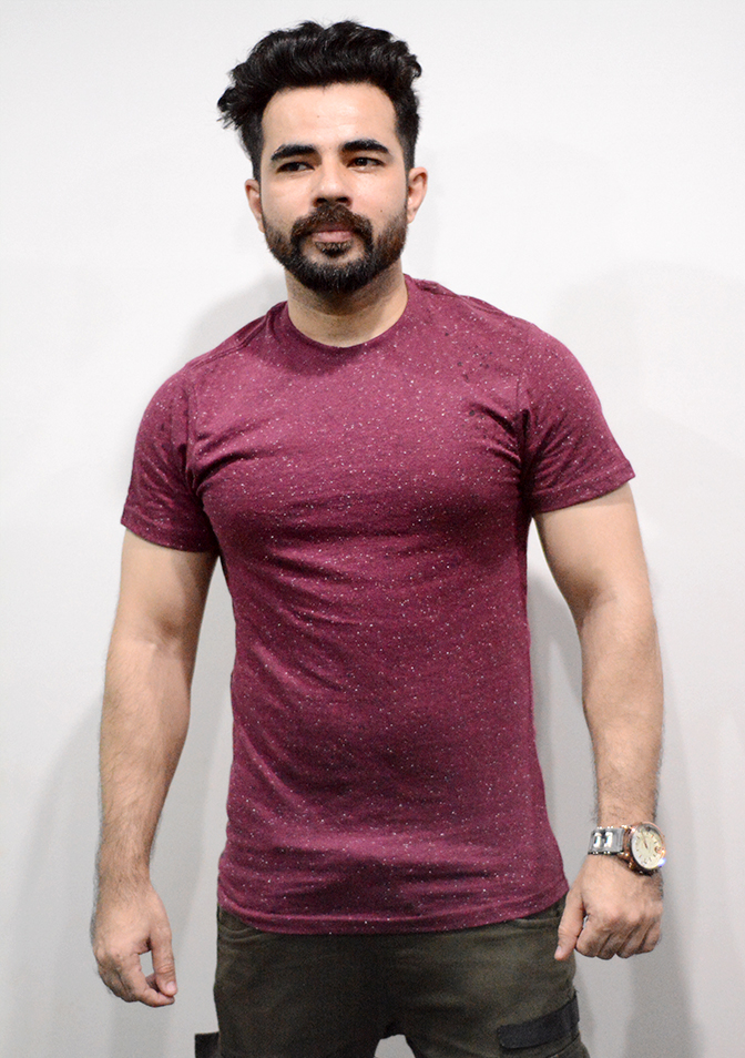 Maroon Textured T-shirt