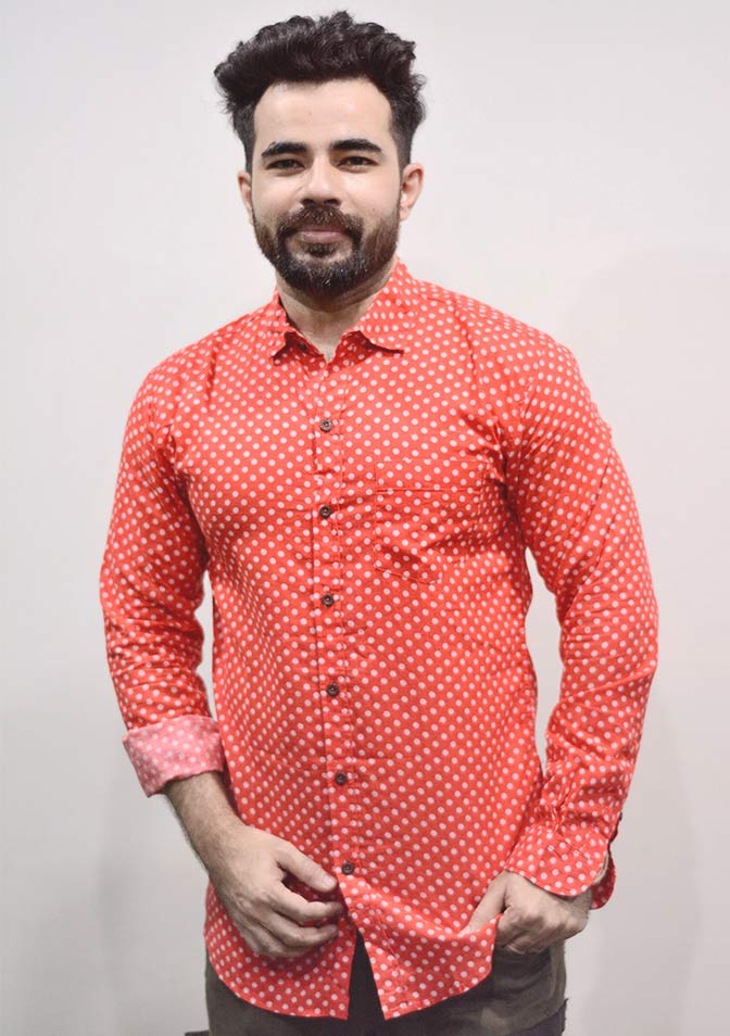 Zara Men, Red With White Dotted Shirt