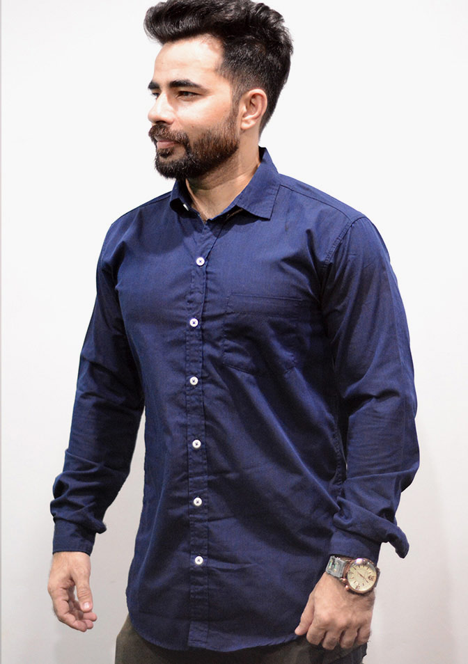 Zara Men Dark Blue Plain Shirt