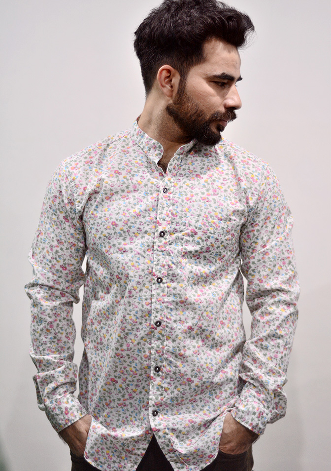 Zara Man White Floral Shirt