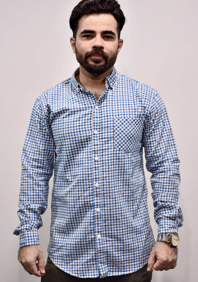 Zara Men Light Blue Checks Shirt