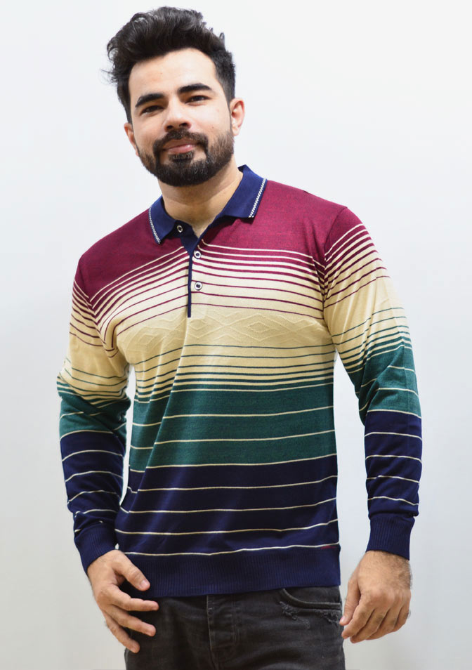 Maroon with three colors, Polo Strip Sweater
